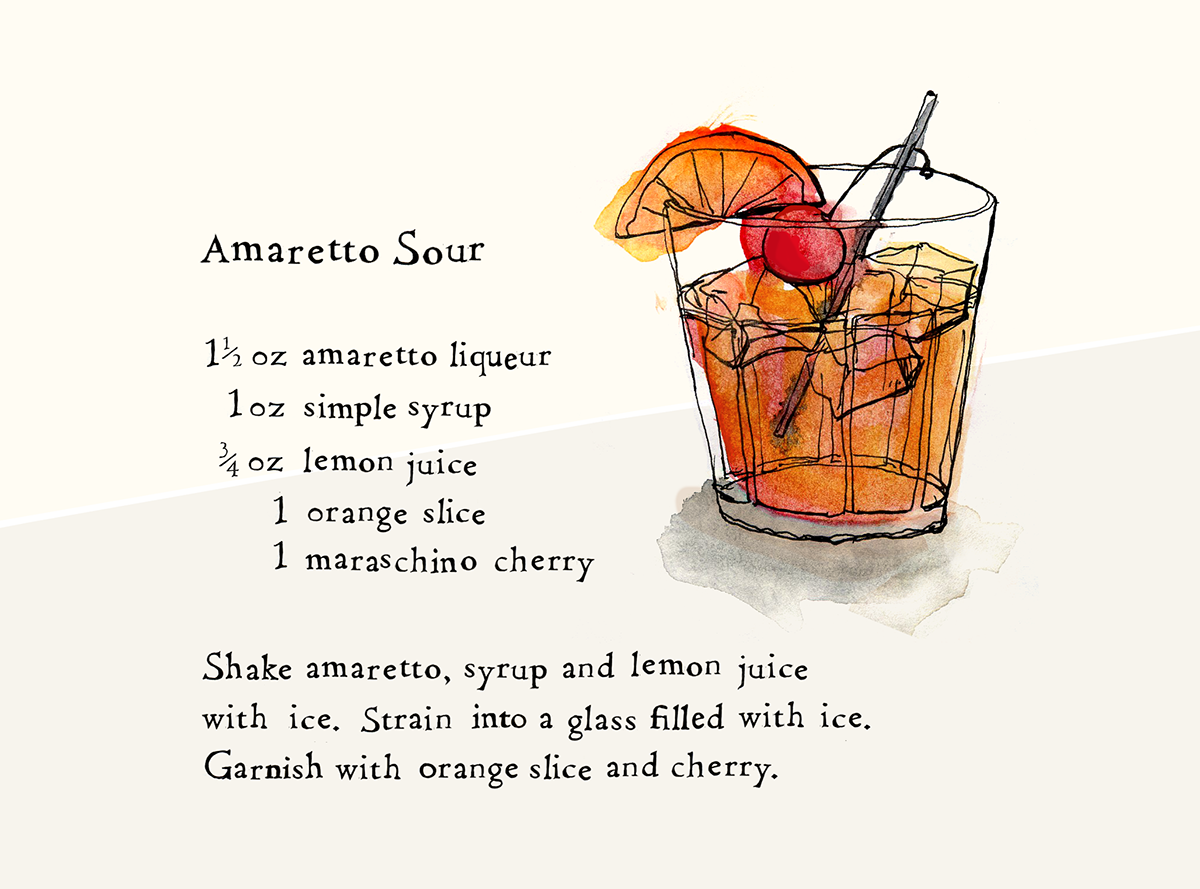 Amaretto Sour, Lauren Monaco Illustration