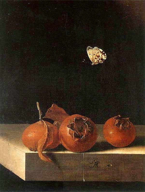 Adriaen Coorte - trois nèfles avec un pâpillon,1705.