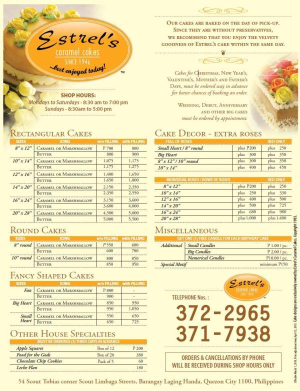 Estrel S Cake Price List