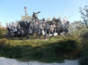 """Soviet era statues of Hungary displayed at """"Memento Park(Memorial Park) in Budapest."""