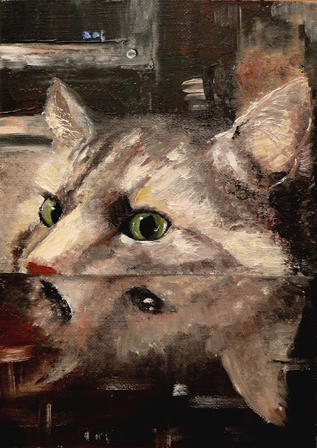 I see you have turkey, oil painting, cat looking at turkey