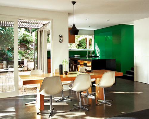 What about emerald green kitchen cabinets? This one might be a stretch