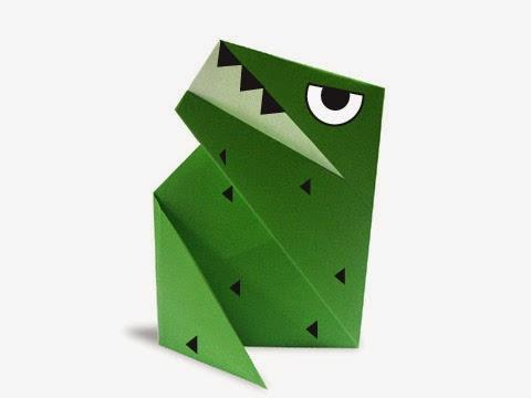 Hướng dẫn cách gấp con khủng long bạo chúa Tyrannosaurus bằng giấy đơn giản - Xếp hình Origami với Video clip