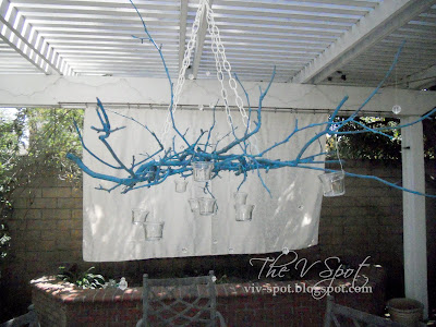 painted twig chandelier,stick chandelier, blue twig