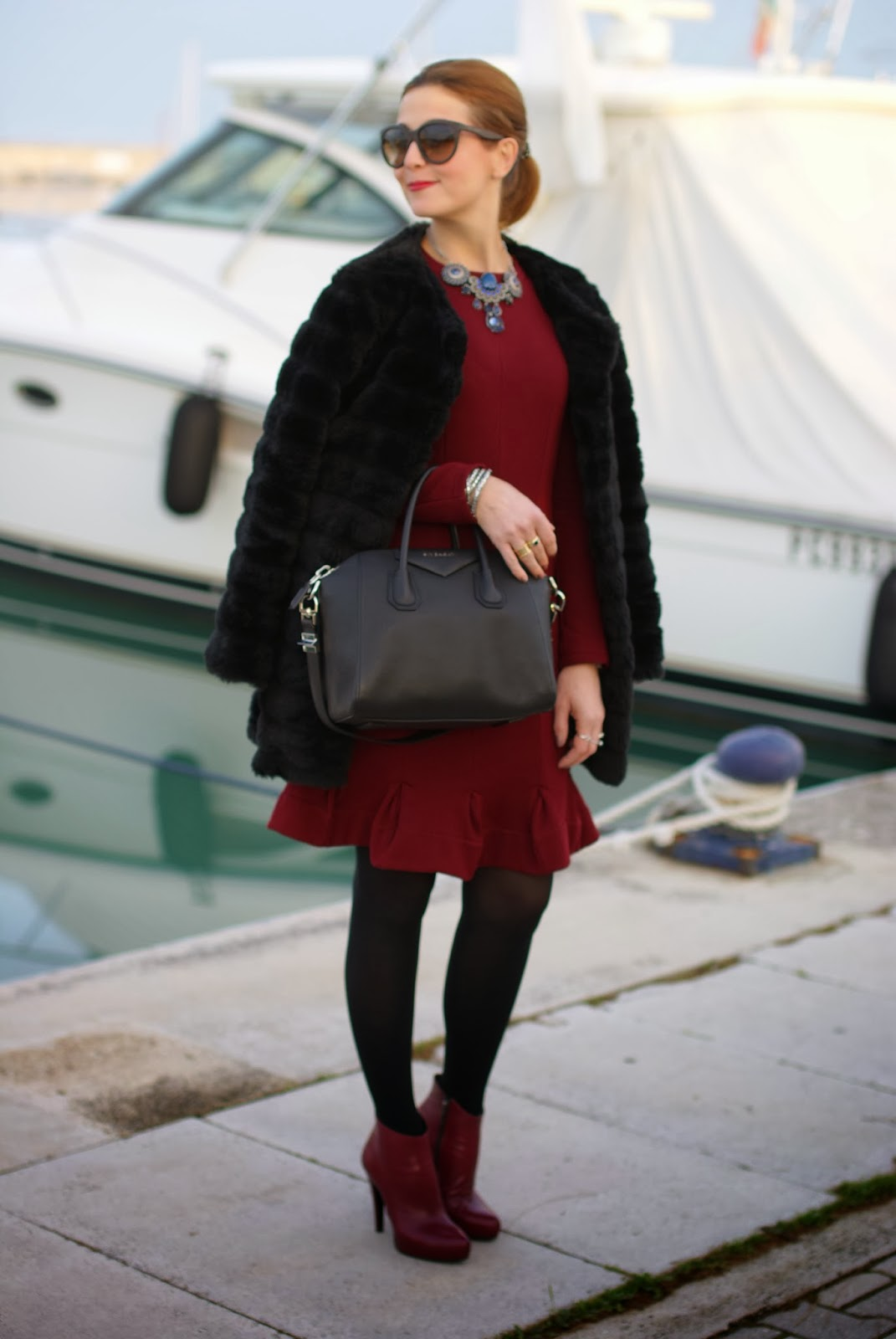 black faux fur, Carven burgundy dress, Icone boots, Givenchy Antigona bag, Fashion and Cookies, fashion blogger