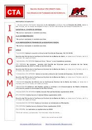 C.T.A. INFORMA, LO REALIZADO EN OCTUBRE DE 2018