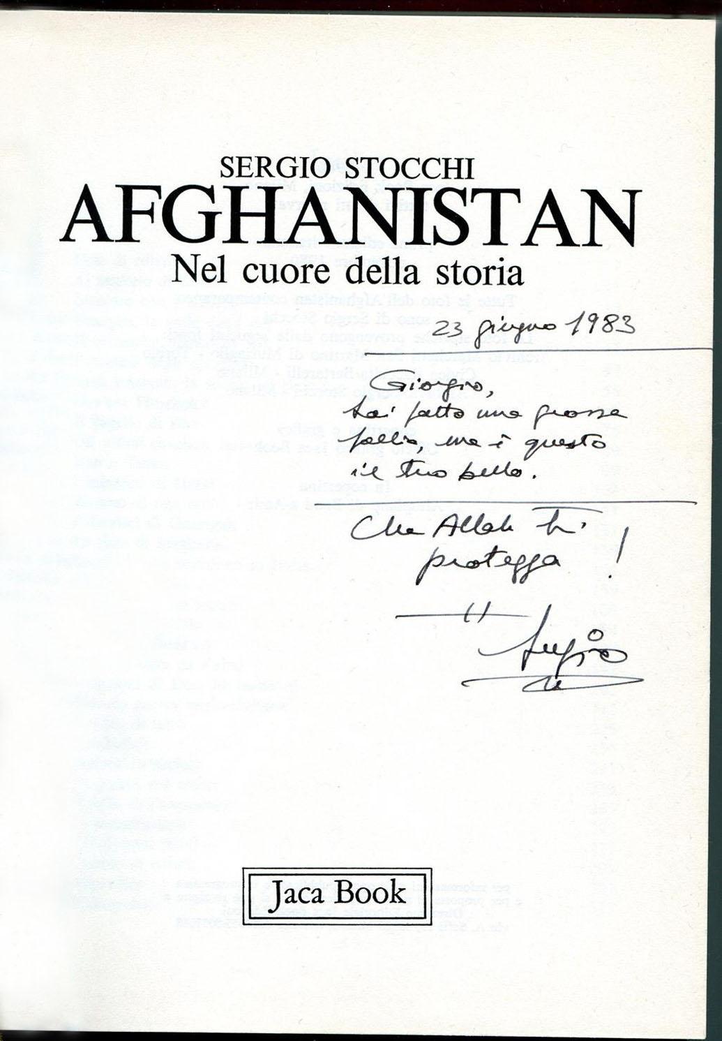 La dedica che Sergio Stocchi mi fece, nel 1983.
