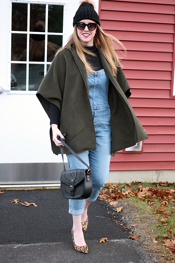 nordstrom giftcard giveaway, boston style blogger, green cape layers, denim overalls gap, leopard heels