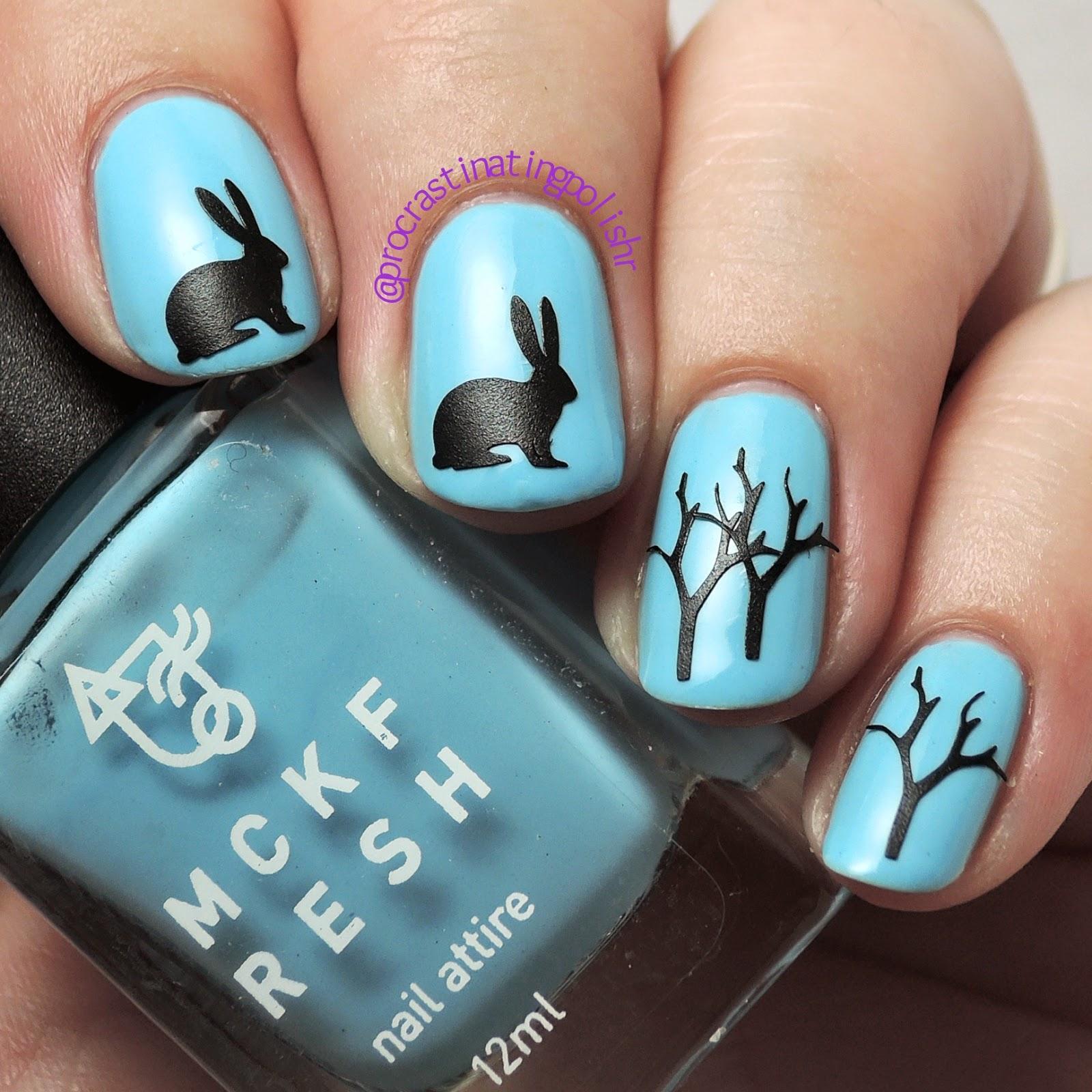 Mckfresh nail decals - rabbit and tree over Azure Mist