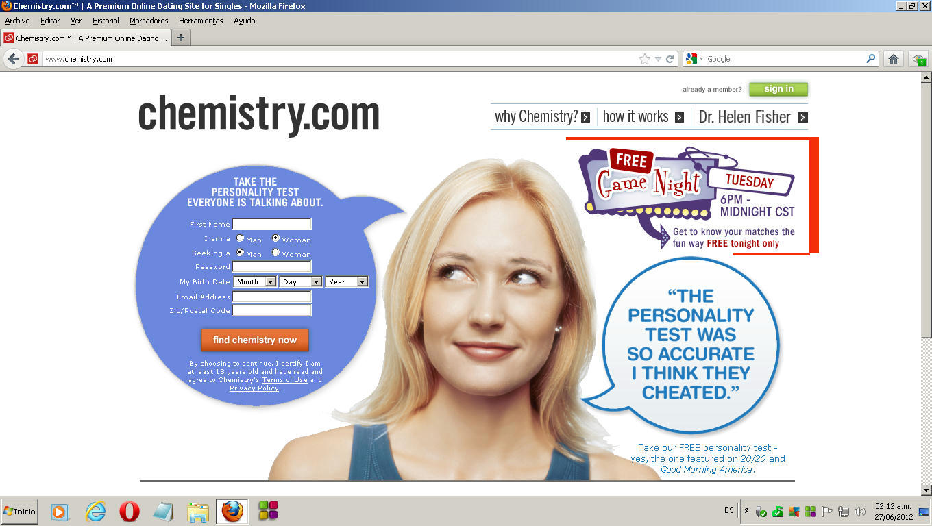Online dating chemistry