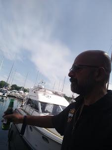 Selfie at Djurgarden sailboat pier in Stockholm.