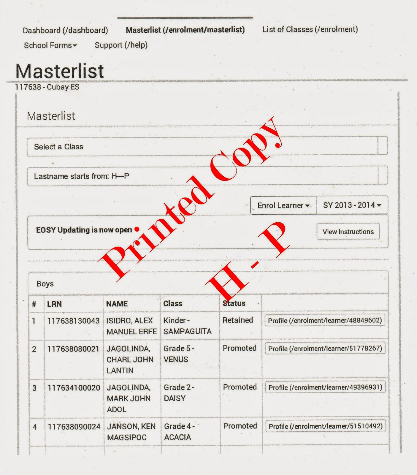 Printed h - p
