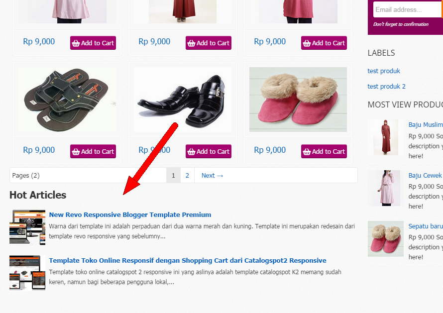 memasang artikel di toko online blogspot