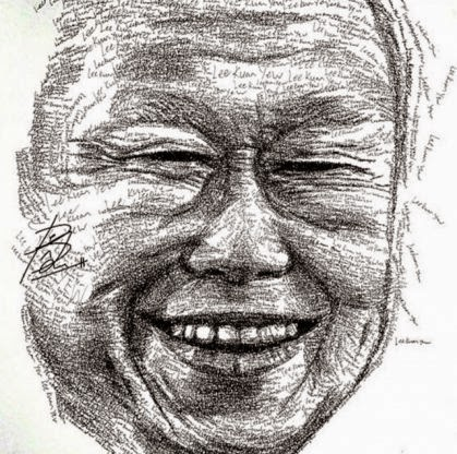 Artist Ong Yi Teck created Mr Lee's portrait by writing 'Lee Kuan Yew' approximately 18,000 times.