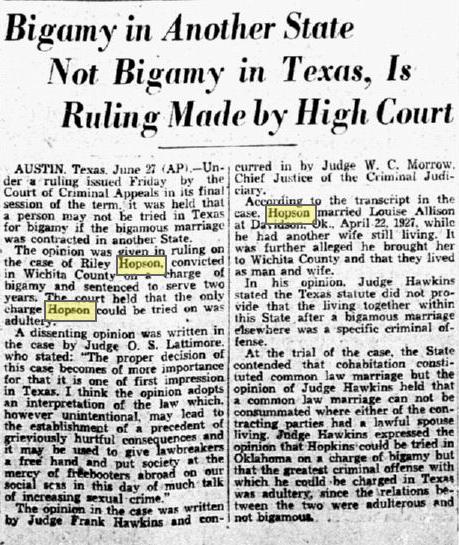 Bigamy common law marriage texas