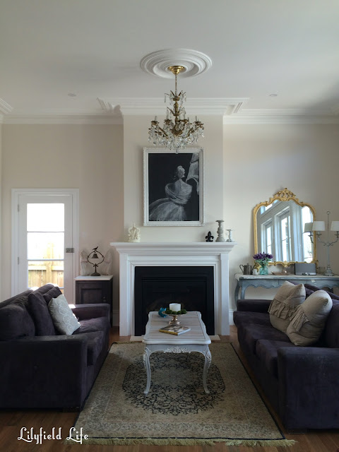 Lilyfield Life formal lounge room with chandelier and fireplace