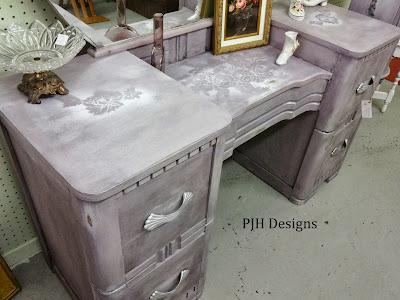 DIY lavender vintage deco dresser
