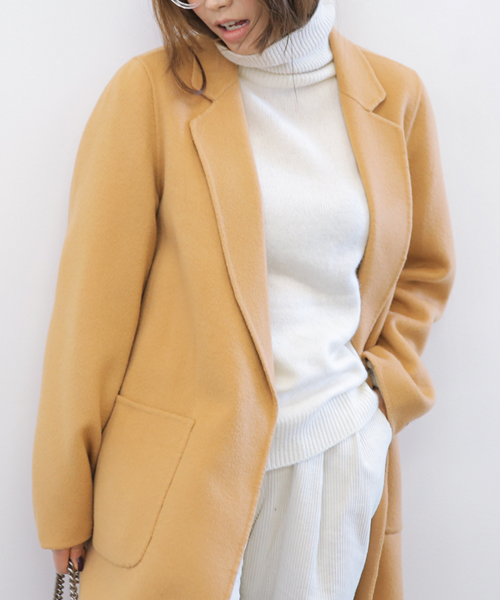 Patch Pocket Detailed Notched Collar Coat