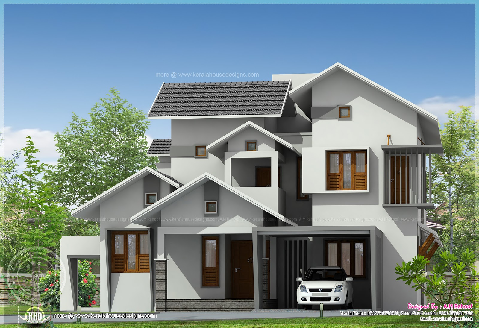 Sloping roof house in 241 square meter home kerala plans - Attic houses undersquare meters ...