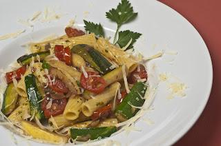 Rigatoni with Zucchini Sauce and pancetta