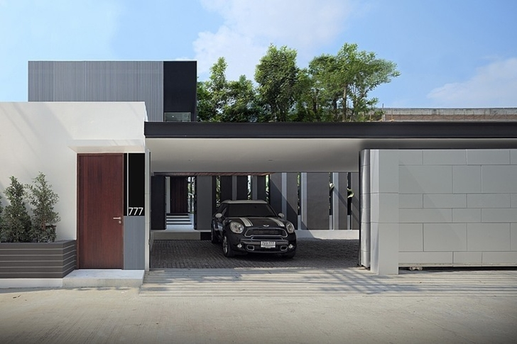 Garage of Modern mansion in Singapore from the street