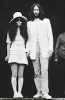 Yoko Ono in knee-length tiered white cotton 1960s wedding dress c. HVB vintage wedding blog 2013