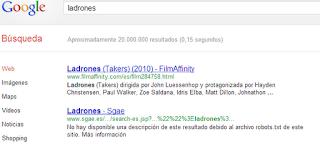 """Resultado busqueda """"ladrones"""" en Google: la SGAE es la segunda posición"""