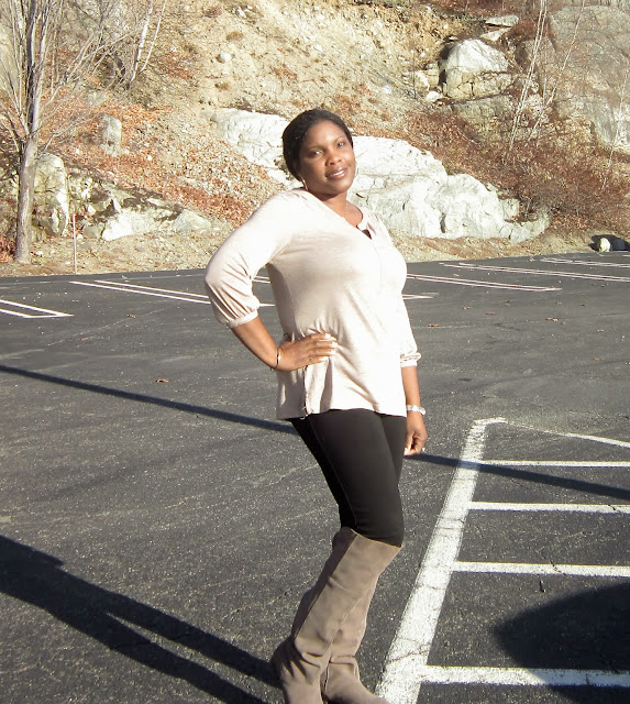 Old Navy Brown tee, Ponte Pants, Chinese Laundry Taupe Over the knee boots