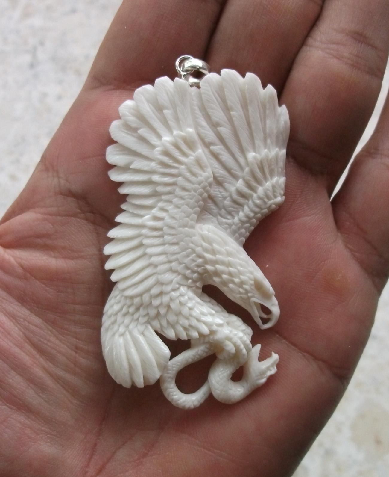 hand carved snake eagle bone pendants