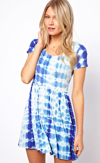 Blue, Contrast, Dress, High Waisted, Jersey, Little Mix, Mini Dress, Oh My Love, Perrie Edwards, Pleated, Print, Short Sleeve, T-Shirt Dress, Tie Dye, White