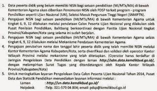 gambar surat edaran NISN kemenag