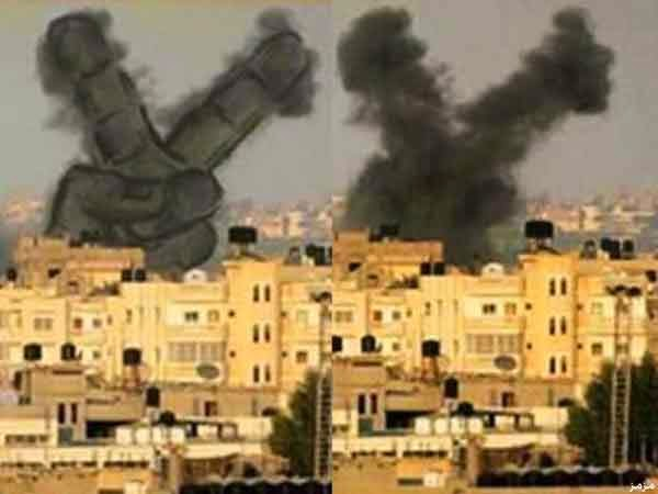 فلسطينيون يحولون دخان الغارات للوحات فنية 6