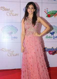 Actress Rakul Preet Singh Latest Pictures in Long Dress at Memu Saitam Dinner with Stars Red Carpet 1