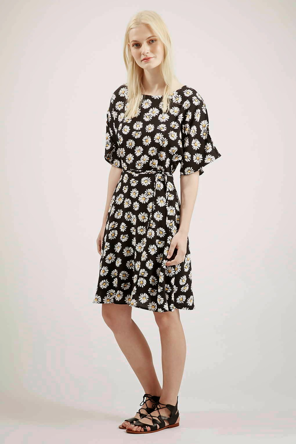 glamorous black white flower dress, black white flower summer dress,