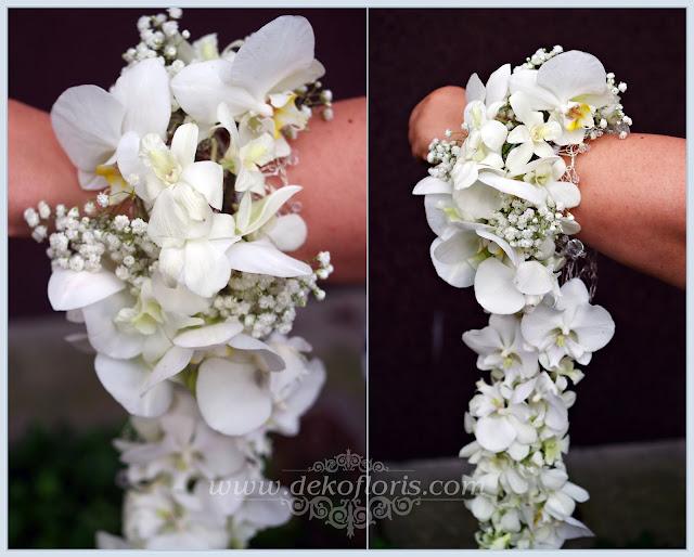 Biały bukiet kaskadowy storczyki opolskie