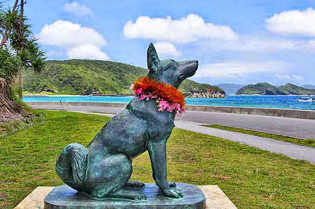 dog statue, island, beach