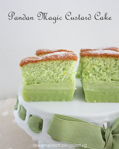 Magic Pandan Custard Cake