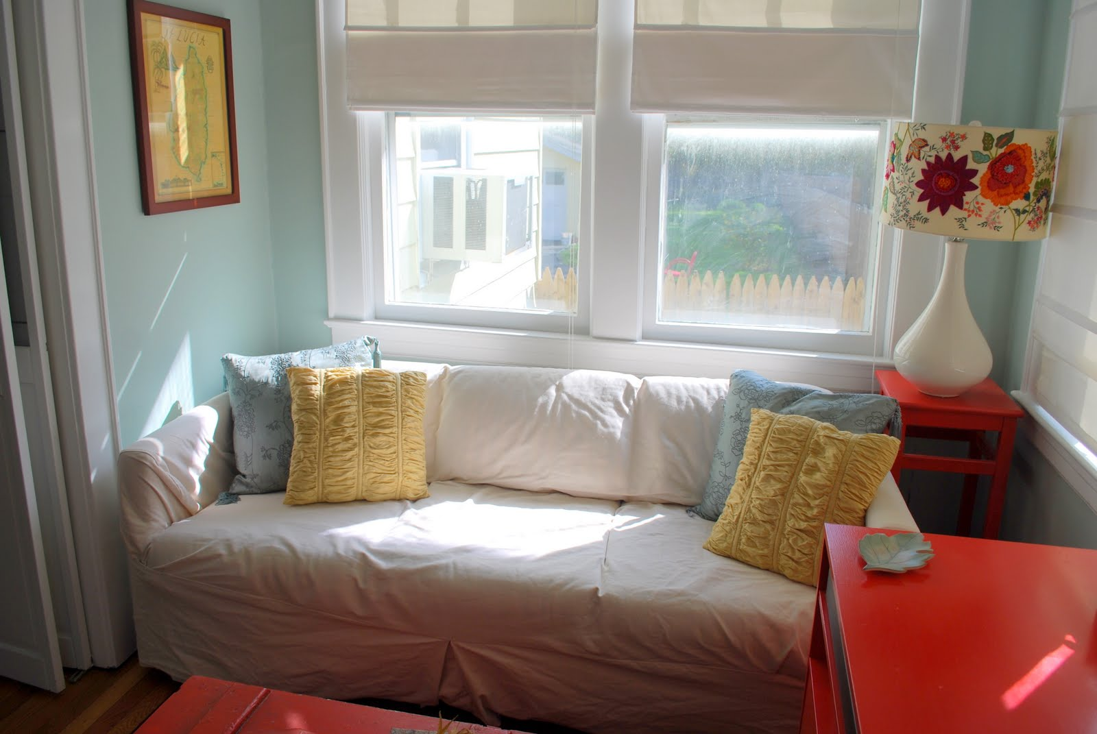 In the little yellow house pillows from fhrs for Living room with lots of seating