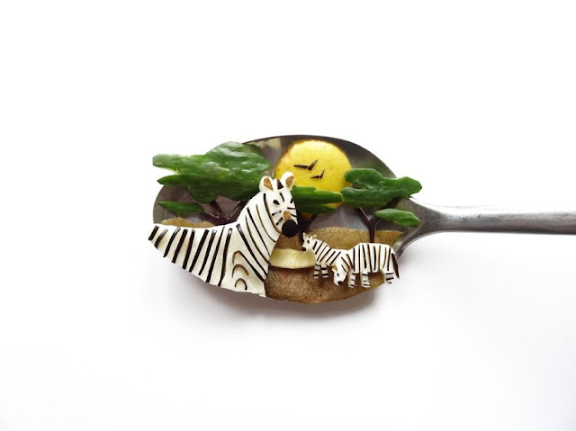 Amazing food art using spoon as a canvas