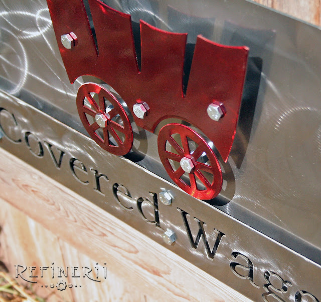 covered wagon steel sign