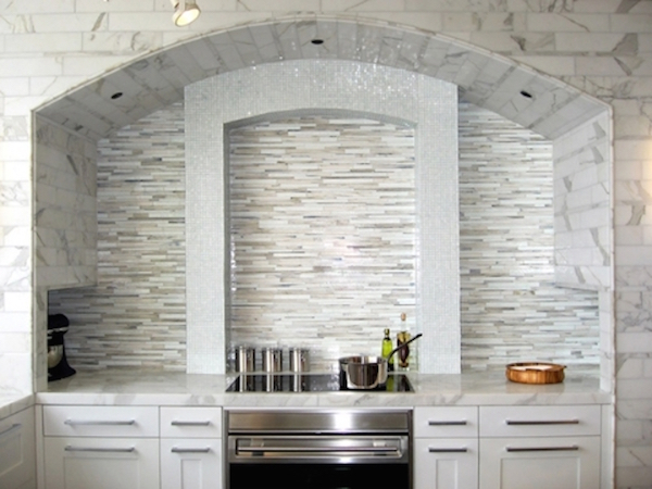 Gray mosaic tile marble kitchen backsplash