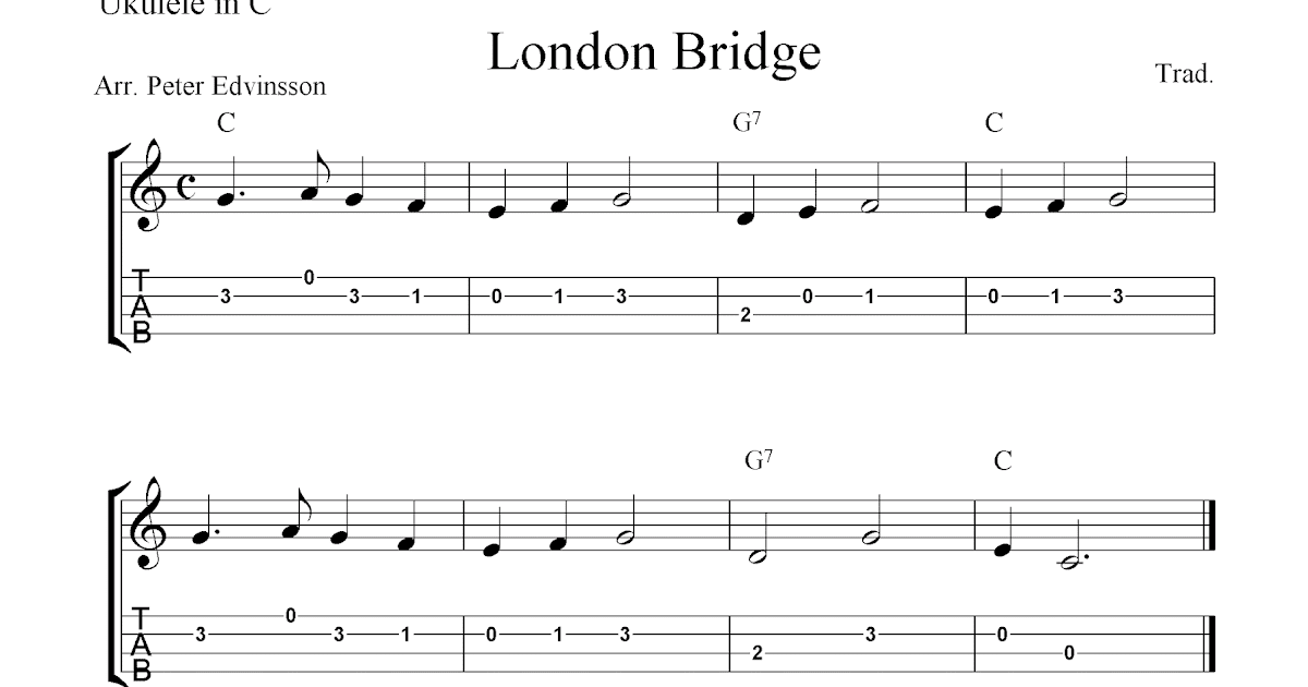 London Bridge, free ukulele tab sheet music
