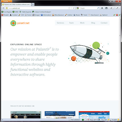 Screen shot of http://www.palantir.net/.