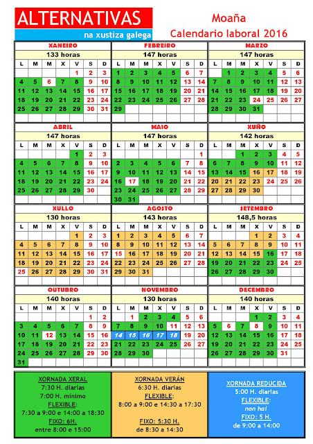 Moaña. Calendario laboral 2016