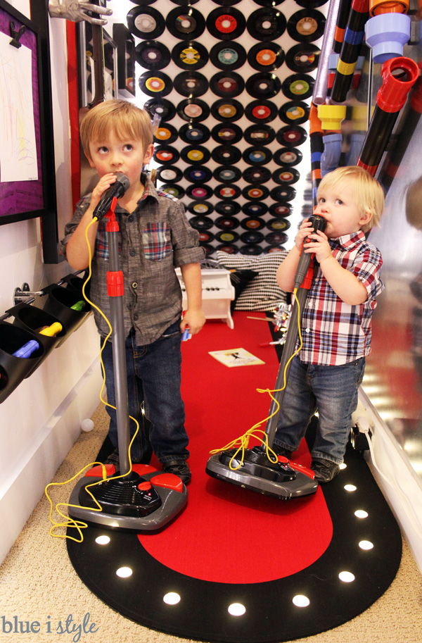 Boys Making Noise in the Rock & Roll Under Stair Playroom
