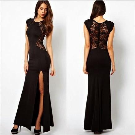 modelo de vestido longo preto com fenda e rendas