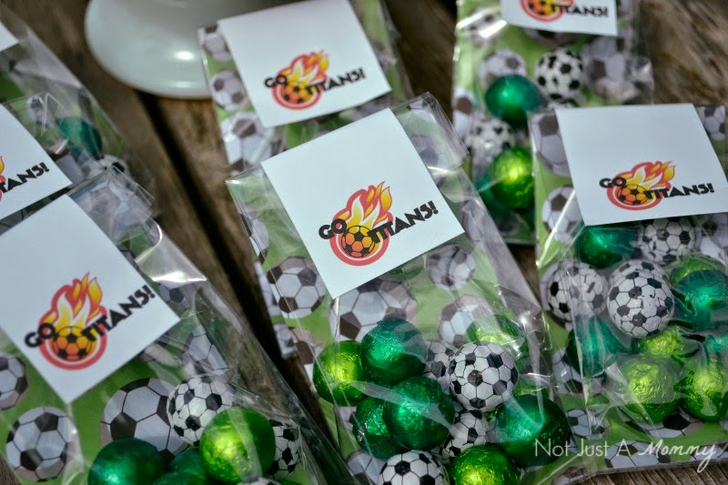 chocolate soccer ball team favors with SweetWorks
