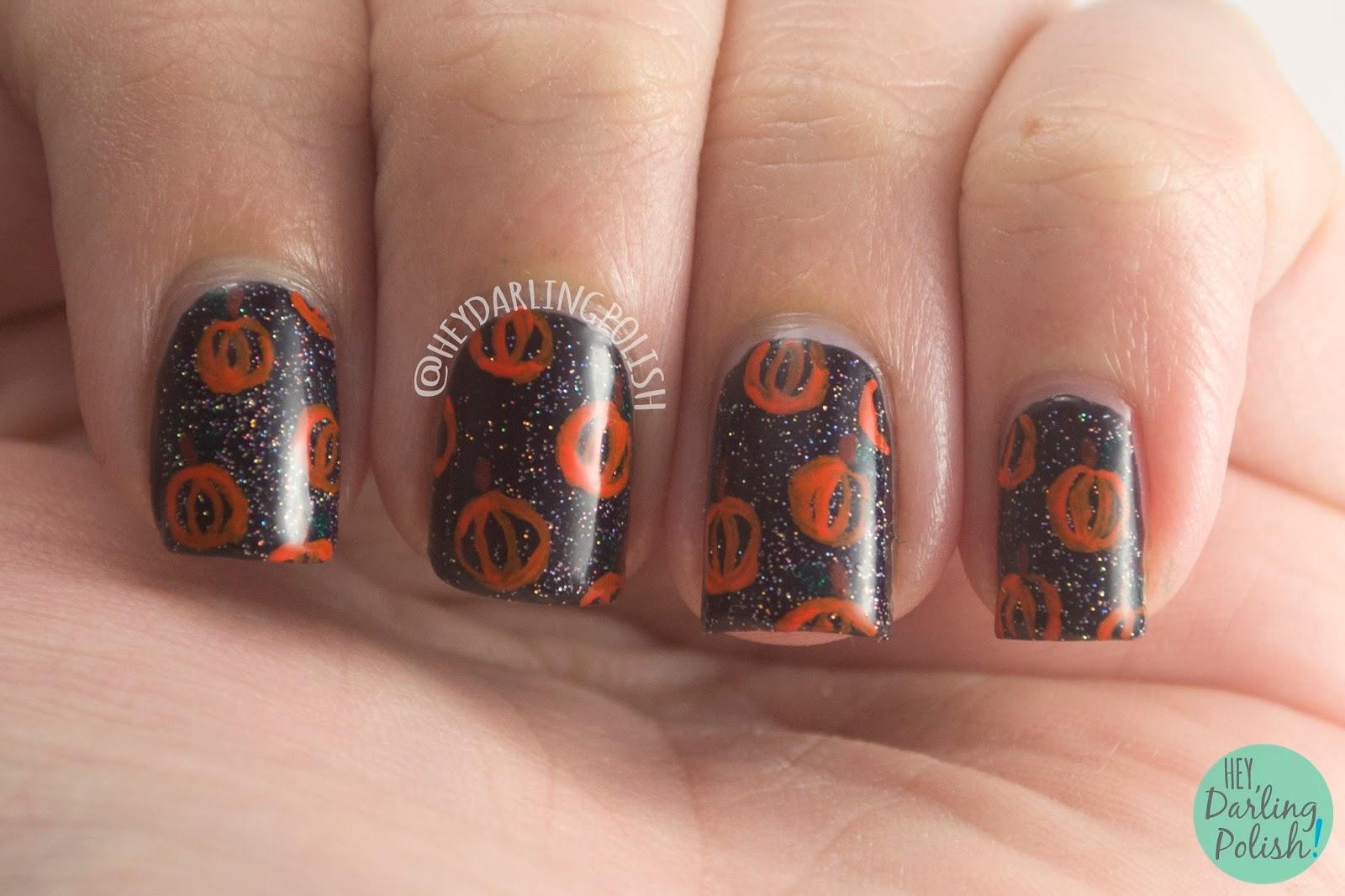 nails, nail art, nail polish, pumpkins, halloween, hey darling polish, nail linkup, naillinkup