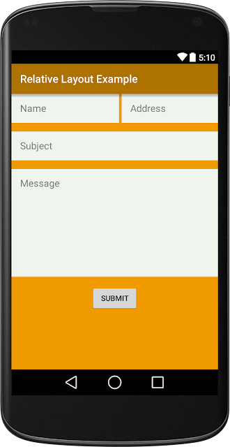 Android Relative Layout Example