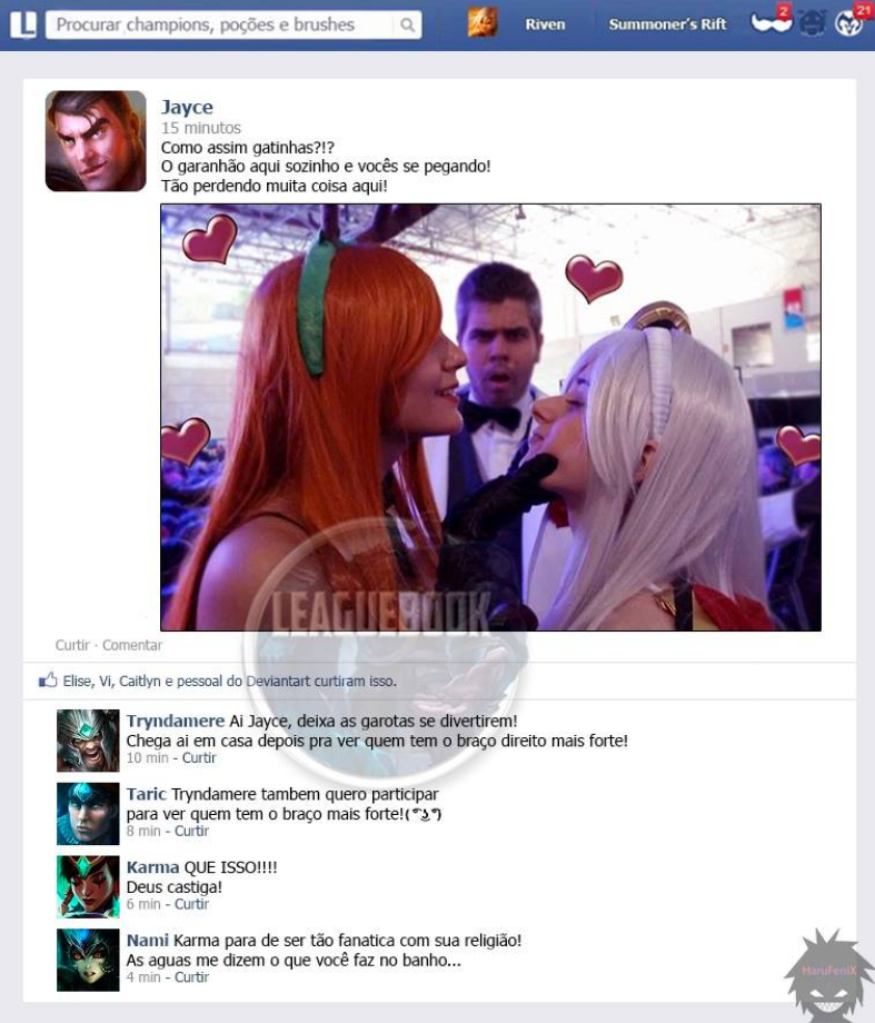lol tirinha, leaguebook, league of lesbians, lol cosplay